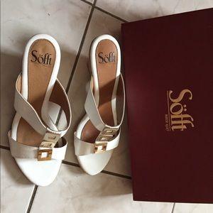 Like new white Sofft brand sandals. Cork heel.